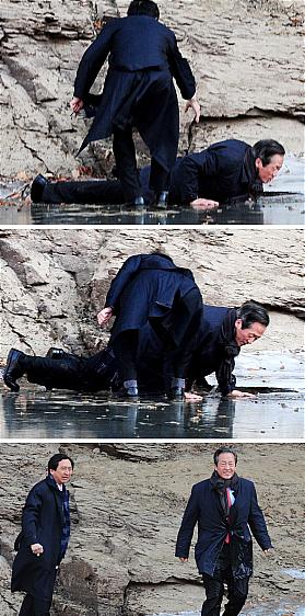 정몽준, 얼음 물속에 풍덩 `아찔'