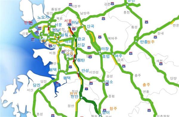 8일11시-서울 고속도 진입로 정체 시작