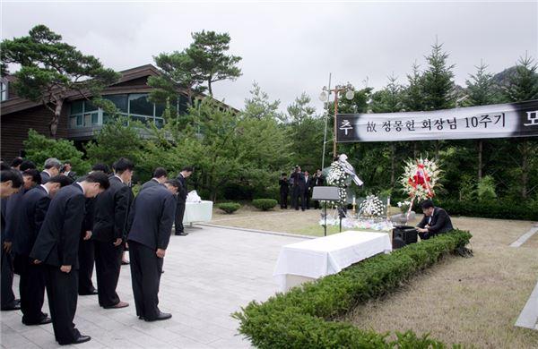 """금강산 찾은 현대그룹 임직원들 """"정몽헌 회장님을 기리며"""""""