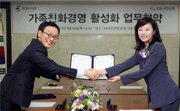 국민은행, 여가부 가족친화경영 활성화 업무협약 체결