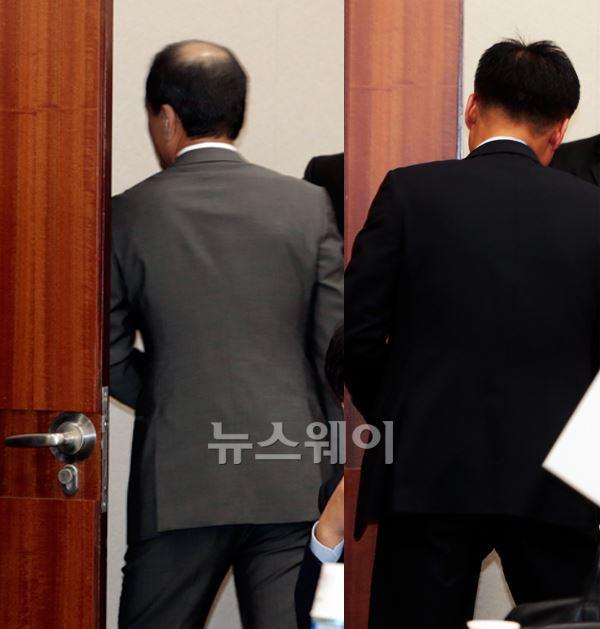 [NW포토]퇴장하는 허인철 이마트 사장, 김성환 신세계푸드 사장