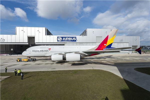 '6월 도입' 아시아나항공 A380 1호기, 색동옷 입었다