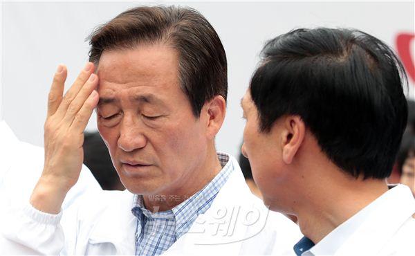 정몽준·김기현, 심각한 대화