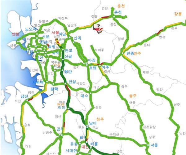 연휴 전국고속도로…서울춘천, 영동 정체 구간 커져