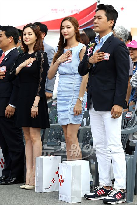 국기에대한 맹세하는 한채영-아이비-JK 김동욱 '세계 헌혈자의 날'
