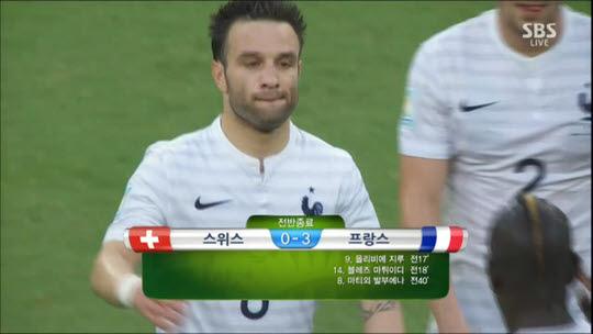 [브라질월드컵]프랑스 전반전 스위스 압도···3:0 크게 앞서
