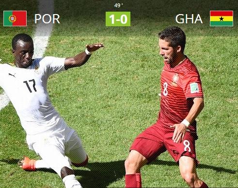 [브라질월드컵]포르투갈, 가나 보예 자책골···1-0 전반 종료