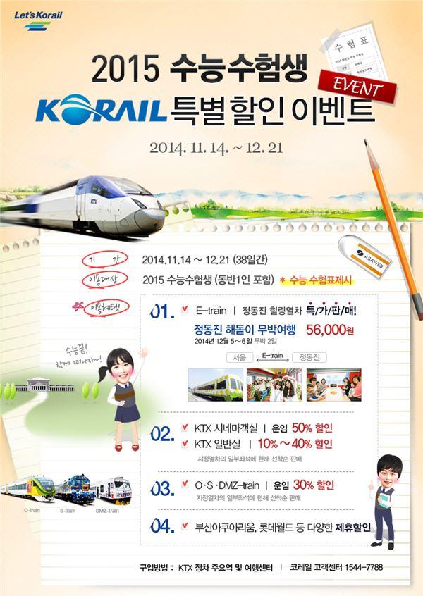 코레일, 수험생 힐링 특별열차 운행… KTX 50%·관광열차 30% 할인