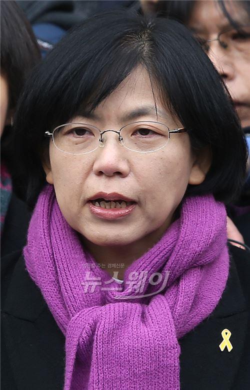 이정희, 통합진보당 해산 기자회견