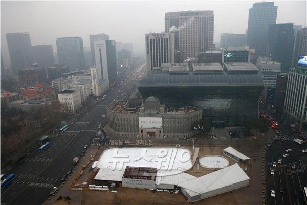 뿌연 미세먼지에 갇힌 서울