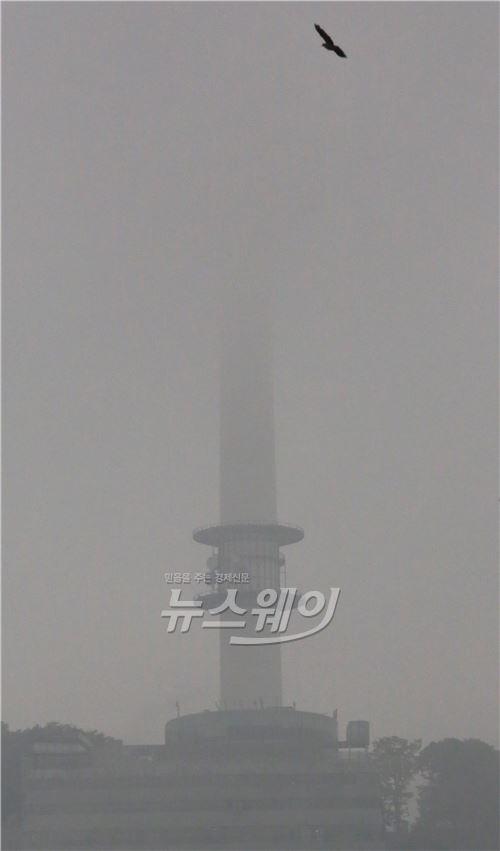 안개 낀 남산 N 타워