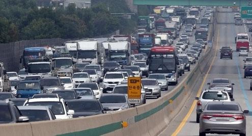 설날 당일 '고속도로교통상황' 양방향 정체