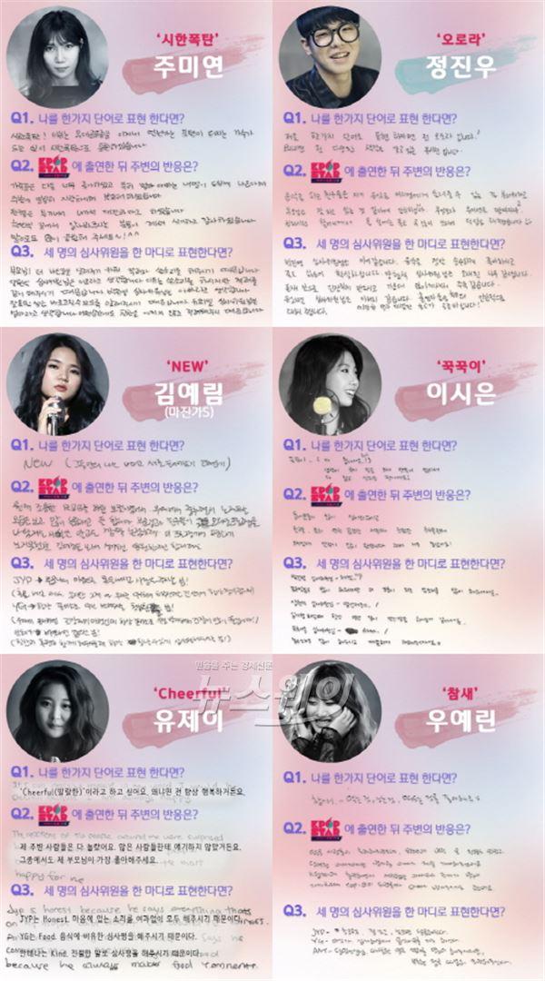 'K팝스타5' 출연진이 직접 작성한 'YG·JYP·안테나는 어떤 존재?'