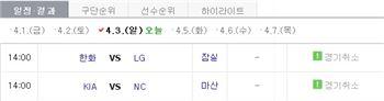 KBO 잠실·마산 경기 우천으로 취소