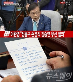 """[총수 청문회] 이완영 """"정몽구, 손경식, 김승연 조기 귀가 배려를""""···야당 의원들 """"귀가 의심스러워"""""""