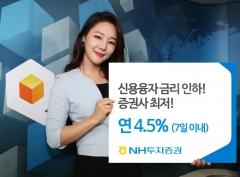NH투자증권, 신용융자 이자율 업계 최저 4.5%로 인하