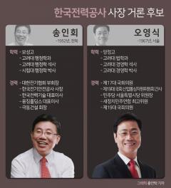 한국전력 사장 선임 코앞···오영식이냐 송인회냐