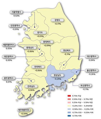 전국 아파트값 '뚝'… 과천은 36주만에 하락