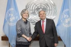 강경화, 유엔 사무총장 면담…비핵화·평화정착 지지 당부