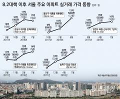8·2대책 약빨 다했나…1년간 서울 아파트값 비교해보니