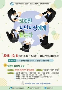 인천시, '500인 시민시장에게 듣는다' 토론회 개최