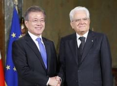 문 대통령, 마타렐라 伊 대통령 회담…양국 협력 증진·한반도 비핵화 강조
