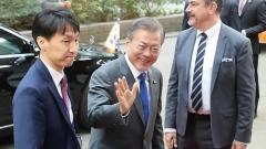 """문 대통령 아셈 참석… """"한반도평화구축, 유라시아 공동 번영 이끌 것"""""""