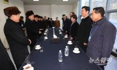 남북철도 현대화 착공식 참석한 김현미-리선권