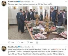 """트럼프, 백악관 만찬에 햄버거 준비해…""""셧타운 때문에"""""""