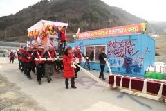 정선알파인경기장 철거반대 '상여 시위' 예행연습