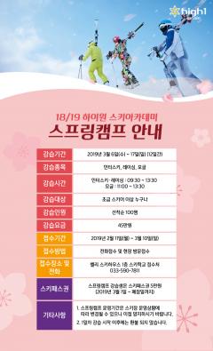 2019 하이원 스키아카데미 '스프링캠프' 접수
