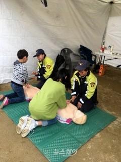 천안동남소방서, '제7회 천안위례벚꽃축제' 안전체험부스 운영