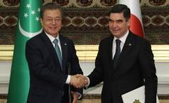 문 대통령·투르크멘 대통령, 한반도 비핵화·신북방정책 협력 확인