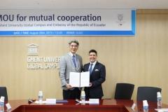 겐트대 글로벌캠퍼스-주한 에콰도르 대사관, 인재양성·기술교류 업무협약 체결