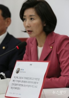 """나경원, 아들 논란 """"특혜 없어…조국 물타기"""