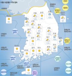 아침기온 '뚝'…전국 맑은 가을날씨 지속