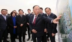 '화성테마파크' 조감도 둘러보는 홍남기-이재명-정용진-서철모-이학수