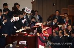의장석 점거·인간장벽·몸싸움…'동물국회' 재연 아수라장 국회