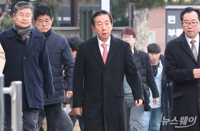 [NW포토]'딸 채용청탁' 김성태 의원,  선고공판 출석