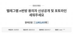 """청와대 청원 """"텔레그램 n번방 신상공개""""…역대최다 200만명 넘겨"""