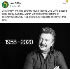 '美인기 컨트리 가수' 조 디피, 코로나19 합병증으로 사망