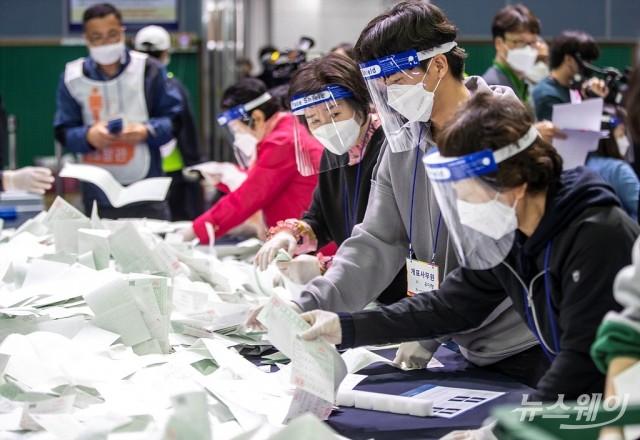 비례대표 개표 완료, 한국 19·시민 17·정의 5·국민 3·열린민주 3 전망