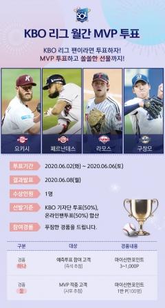 신한은행, '신한 쏠' 앱 통해 KBO 5월 MVP 투표 시행