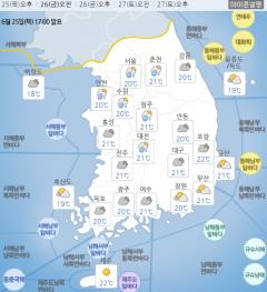 전국 흐리고 가랑비…습한 날씨에 체감온도 '쑥'