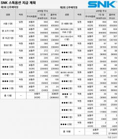 SNK '통큰' 행보…이번엔 임직원에 1200배 차익 스톡옵션
