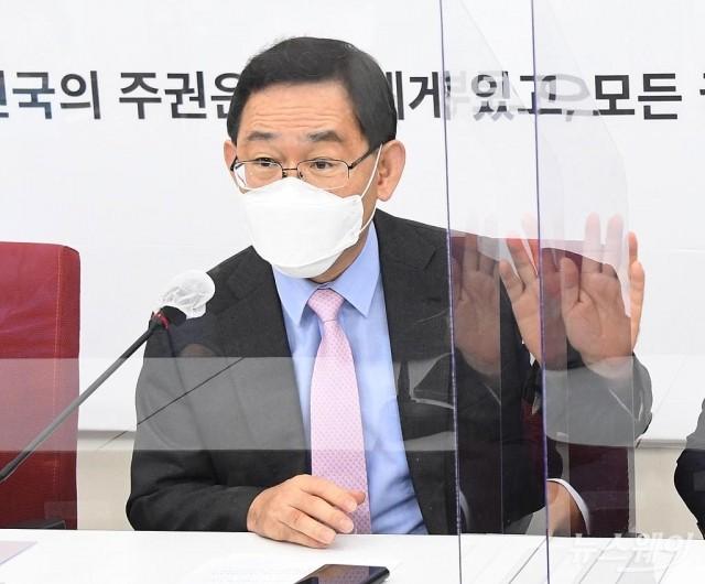 [NW포토]국민의힘 원내대책회의 발언하는 주호영 원내대표