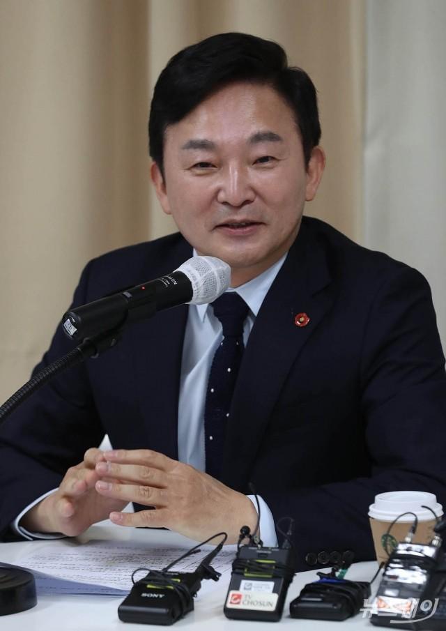 [NW포토]원희룡 제주지사, 김무성 전 새누리당 대표가 이끄는 '더 좋은 세상으로'에서 강연