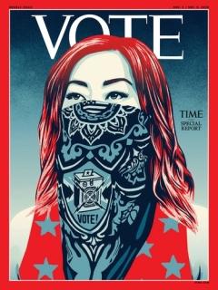 타임, 역사상 처음으로 로고 'TIME' 빼고 'VOTE'