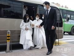 영결식 참석하는 이재용 부회장과 홍라희-이부진
