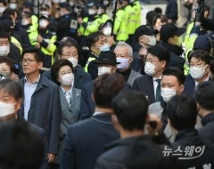 이명박 전 대통령 배웅하는 김문수-이은재-장제원-권성동